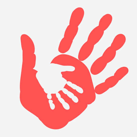 Illustration pour Mother and child Handprint. Palm of woman and baby. Hands - social illustration Vector - image libre de droit