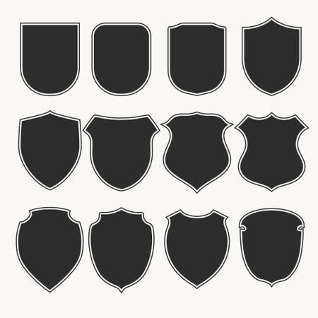 Illustration for Heraldic shields icons set silhouettes. Vector illustration - Royalty Free Image