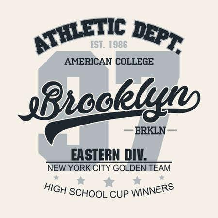 Illustration pour T-shirt stamp graphic, New York Sport wear typography emblem Brooklyn vintage tee print, athletic apparel design shirt graphic print. vector - image libre de droit