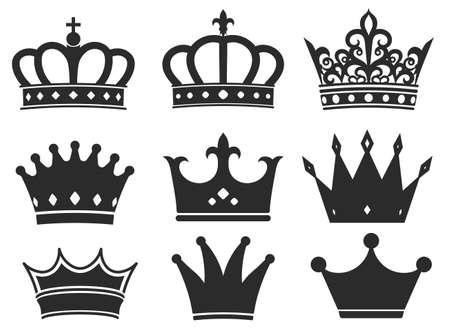 Illustration pour Crown silhouette icon collection. Royal diadem symbol set, majestic tiara black elements. Vector illustration - image libre de droit