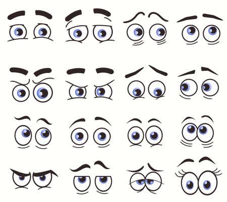 Illustration for Cartoon Funny Eyes, Cartoon faces. Vector set - Royalty Free Image