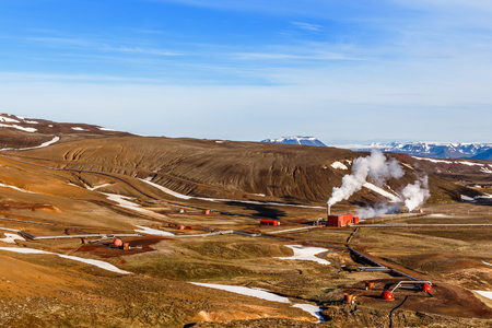 Icelandic landscape with geothermal power  station in the valley, Myvatn lake surroundings, Iceland