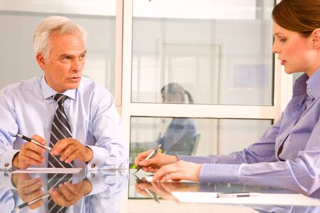 Photo pour businessman and businesswoman during a working meeting - image libre de droit
