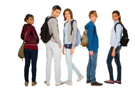 teenage students with backpack