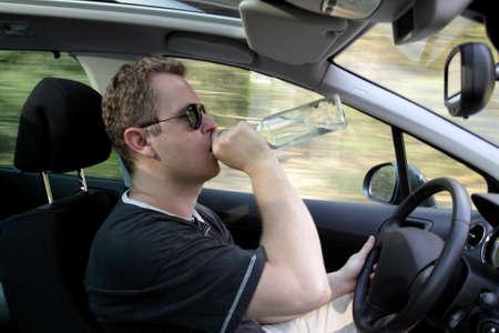 Drunk guy drives a car