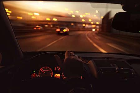 Driving car at morning