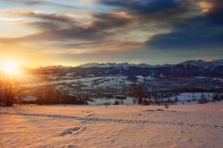 beautiful view of the Polish Tatra Mountains on a winter day