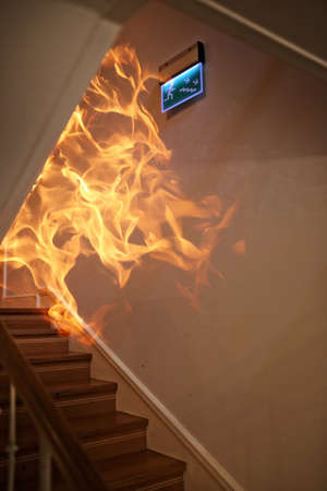 Fire and smoke in the homme building and staircase