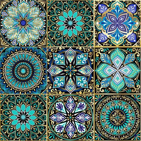 Ilustración de Colorful floral seamless pattern from squares. - Imagen libre de derechos