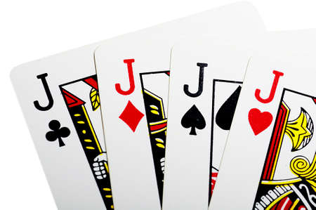 Quads of jack for poker over white