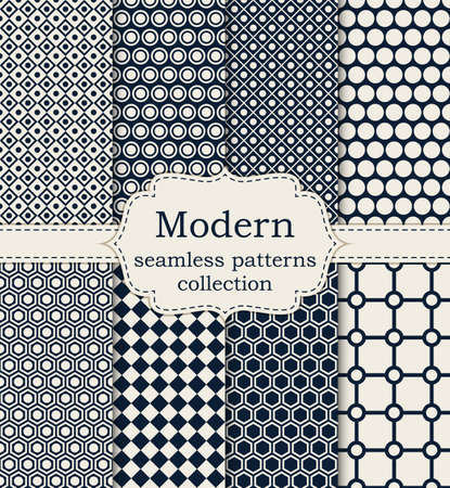 Ilustración de Vector illustration set of seamless modern patterns. - Imagen libre de derechos