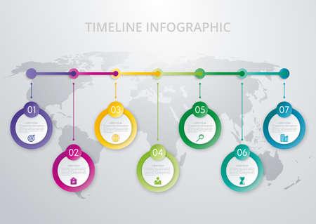 Illustration pour Timeline infographics template. Colorful modern design. Vector illustration - image libre de droit