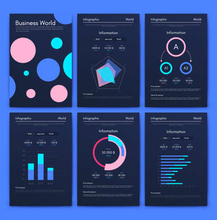 Illustration pour Modern infographic vector elements for business brochures. Use in website, corporate brochure, advertising and marketing. Pie charts, line graphs, bar graphs and timelines. - image libre de droit