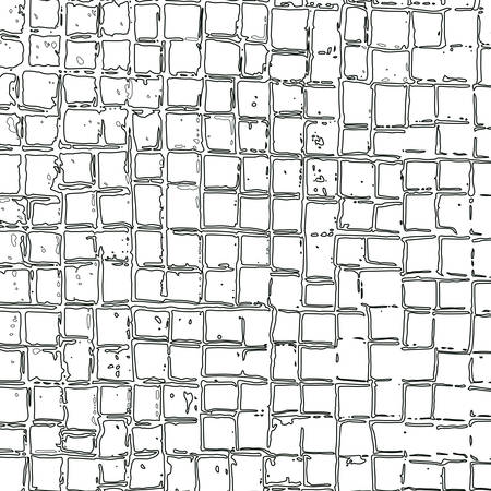 Illustration pour Abstract grid of repeating outline squares of different sizes and distances between cells. Vector maze. Illustration with hand-drawn grid squares for background, game, animation, web, print, ceramics, T shirt. - image libre de droit