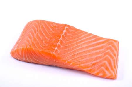 salmon steak red fish on white