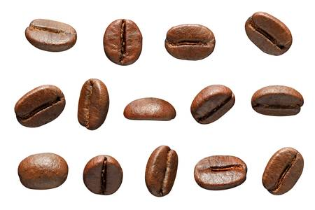 Coffee beans  Isolated on white backgroundの写真素材