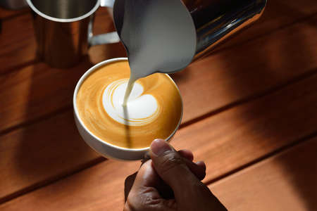 Making of cafe latte art