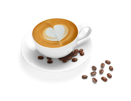 Photo pour Cup of coffee latte and coffee beans isolated on white backgroud - image libre de droit