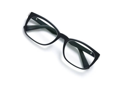 Black frame eyeglasses isolated on white background