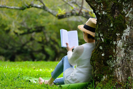 Photo pour Middle aged woman sitting under a tree reading a book in the park - image libre de droit