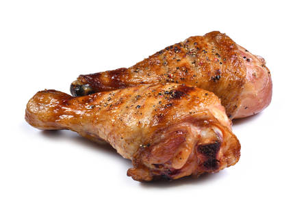 Photo pour Grill roast bbq chicken leg isolated on white background - image libre de droit