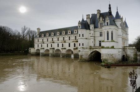 Chenonceau, France - December 21, 2011: Chateau de Chenonceau after the storm