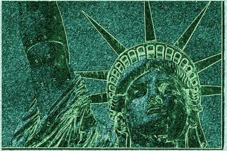 This is a digitally altered image of the Statue of Liberty. The image is shaded in green, much the same color as the actual statue. This shows her head, crown and forearm and they are also colored green.