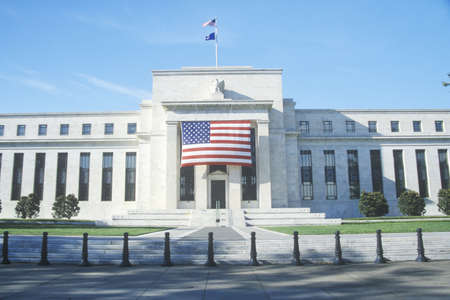 American Flag hung on The Federal Reserve Bank, Washington, D.C.