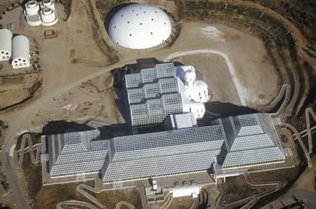 Aerial view of the enclosed ecosystem of Biosphere 2 at Oracle in Tucson, AZ