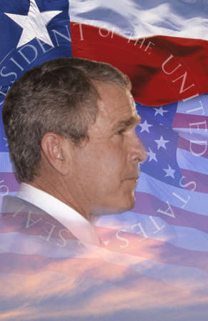 Digital composite:  President George W. Bush and American flag