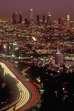 View of Los Angeles at twilight from Mulholland Drive, Los Angeles, California