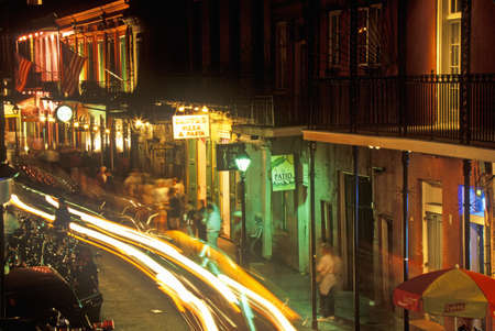 Bourbon Street at Night, New Orleans, Louisiana