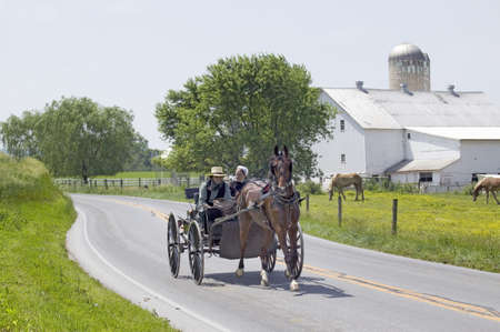 Amish horse and carriage driving past barn in Lancaster County, Pennsylvania