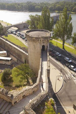 Walkway from Palace of the Popes toward Le Pont Saint-Benezet, Avignon, France