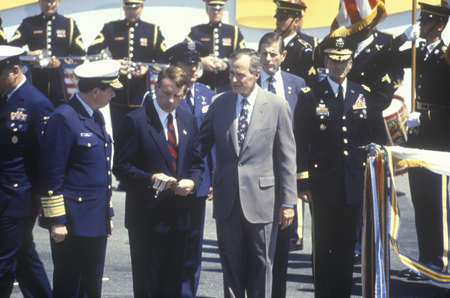 President Bush and military personnel during the Desert Storm Victory Parade in Washington, D.C. 1991