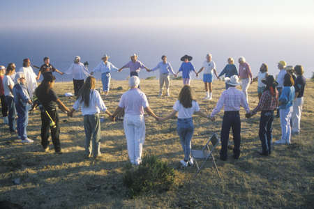 A sunset ceremony for an earth new age gathering in Big Sur California