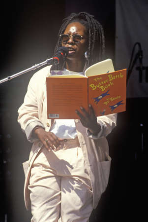 Whoopi Goldberg reads Dr. Seuss to kids at the Rainforest Benefit, Greek Theater, Los Angeles, California