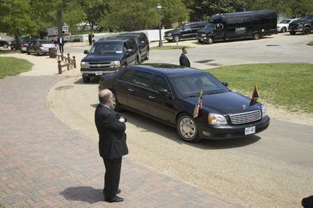 Black Presidential Limo carrying Her Majesty Queen Elizabeth II as it pulls up in front of Governor's Palace in Williamsburg, Virginia on May 4, 2007 as part of the 400th Anniversary of English settlement of Jamestown, Virginia