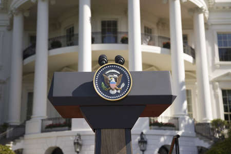 Presidential Seal on podium in front of the South Portico of the White House, the Truman Balcony, in Washington, DC on May 7, 2007, in preparation for the visit of Her Majesty Queen Elizabeth II and President George W. Bush