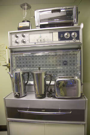 Interior view of 1960's kitchen at  John F. Kennedy Presidential Library and Museum, Boston, MA., USA