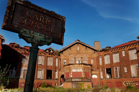 Old ruined Carr School in St. Louis, Missouri, USA