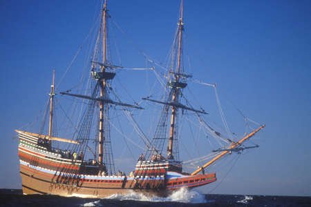 Mayflower II Replica on sea, Massachusetts