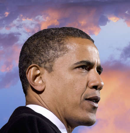 President Barack Obama against a backdrop of a sunset