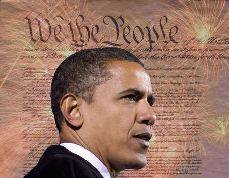 President Barack Obama against a backdrop of the United States Constitution