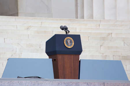 Empty Presidential Podium at the Let Freedom Ring 50th Anniversary Of MLK's March On Washington on August 28, 2013