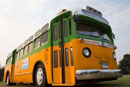 Restored bus Rosa Parks sat in December 1, 1955 from Montgomery Alabama on Cleveland Avenue, is seen in  Washington, D.C. National Mall, for the 50th Anniversary of the march on Washington and Martin Luther King's I Have A Dream Speech