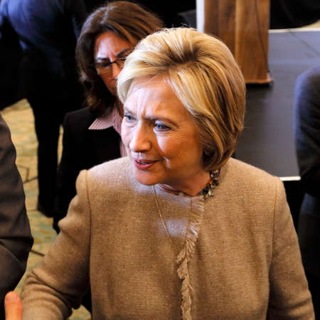 SAN GABRIEL, LA, CA - JANUARY 7, 2016, Democratic Presidential candidate Hillary Clinton shakes hands and poses for pictures at the Asian American and Pacific Islander (AAPI) members.