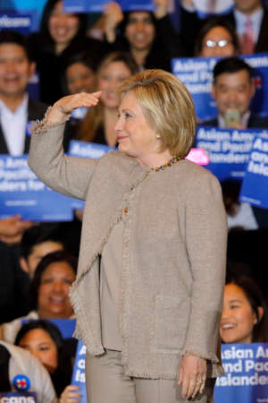 SAN GABRIEL, LA, CA - JANUARY 7, 2016, Democratic Presidential candidate Hillary Clinton stairs at crowd at  Asian American and Pacific Islander (AAPI) members.