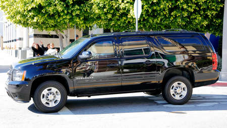 SAN GABRIEL, LA, CA - JANUARY 7, 2016, Democratic Presidential candidate Hillary Clinton departs in Black SUV Limo at  Asian American and Pacific Islander (AAPI) members.
