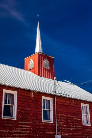 APRIL 27, 2017 - PARADOX COLORADO - Paradox Community Center and Church with cross, off State Route 90, Western Colorado near Utah border